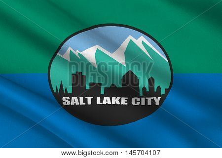 Flag of Salt Lake City is the capital state of Utah USA. 3D illustration
