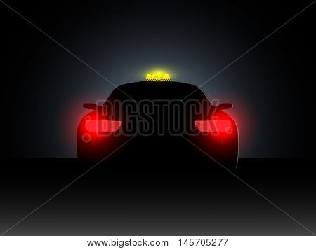 Taxi in the dark with the included headlights. Vector illustration.