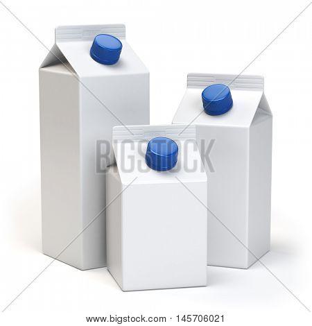 Milk or juiice blank white carton packs Isolated on white. 3d illustration