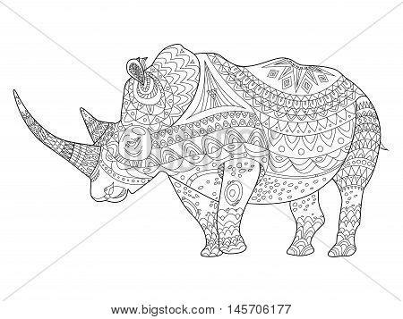 Rhinoceros coloring book vector illustration. Anti-stress coloring for adult. Zentangle style. Black and white lines. Lace pattern