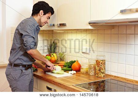 Man Preparing Vegetables