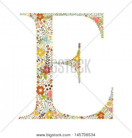 E letter with decorative floral ornament