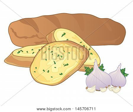 an illustration of a big garlic baguette with cut slices and some garlic bulbs on a white background
