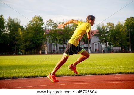 young brunet runner runs stadium summer on racetrack