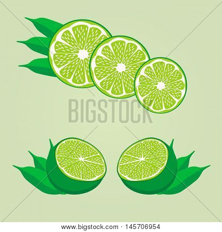 Vector illustration of logo for the theme of the lemon.Isolated drawing consists of ripe yellow fruits slice with green leaves on a green background.The icon for the fresh juice vitamins health shop
