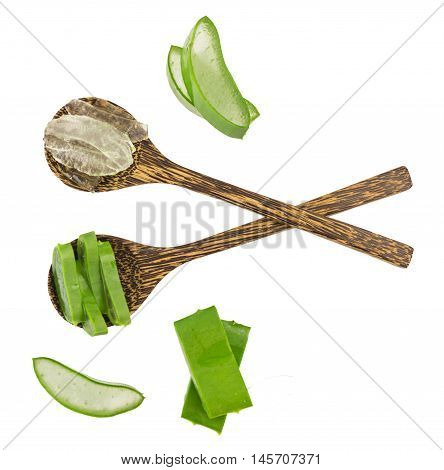 Top View - Fresh Sliced Aloe Vera And Gel Isolated On White