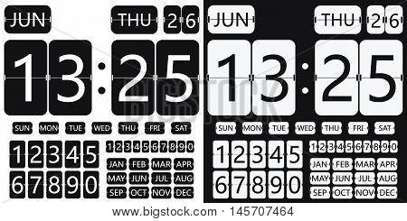 flip clock calendar, flat design, flip timer, table clock, flat clock, flat calendar