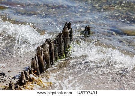 Old wooden jetty remains in the sea water surf