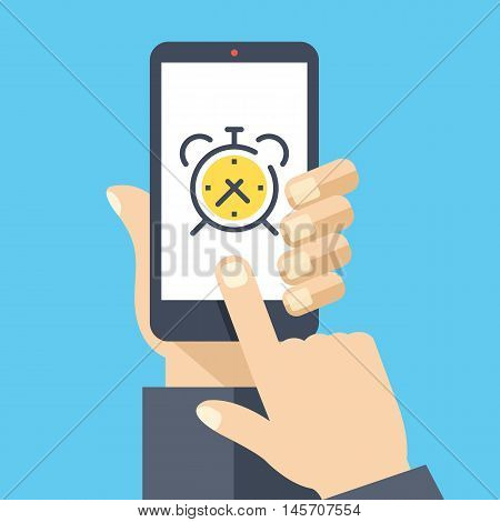 Alarm clock on smartphone screen. Wake up app. Hand holding smartphone, finger touching screen. Modern concept for web banners, web sites, infographics. Creative flat design vector illustration