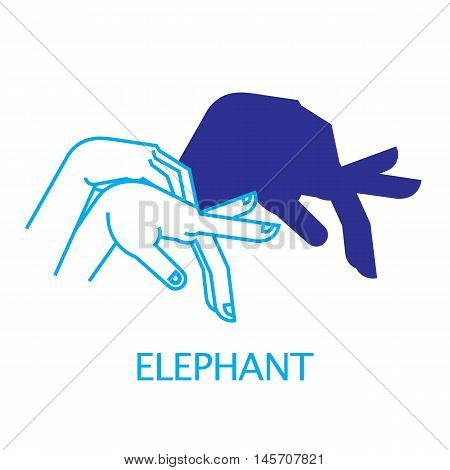 Shadow Hand Puppet Elephant. Vector Illustration of Shadow Hand Puppet Isolated on a White Background. Shadow Theater or Shadow Play. Icon of Shadow Hand Puppet Elephant in Mix Style.