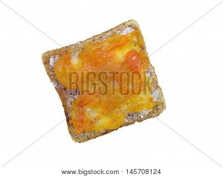 Toast bread with kumquat marmalade and white background