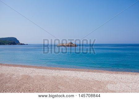 Montenegro seashore, Becici resort, view from the beach