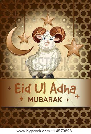 Sacrifice Feast background with sheep. Festival of the Sacrifice. Greeting card with sheep for muslim community festival of sacrifice Eid-Ul-Adha. Eid Mubarak