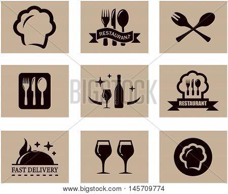 set of nine concept background for napkin or restaurant menu
