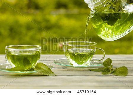 Herbal tea with melissa in a glass cup and teapot