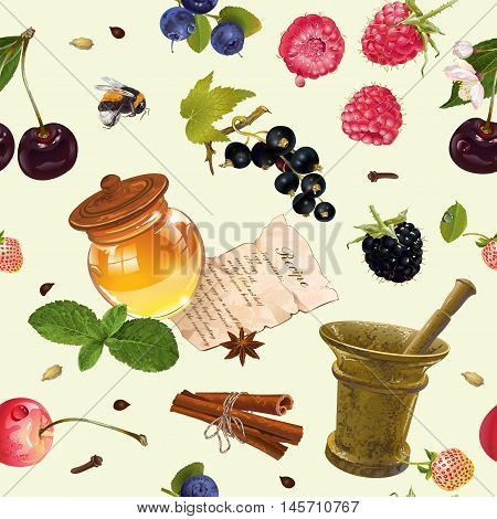 Vector fruit and berry cosmetic seamless pattern with honey and mortar.