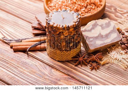 Chocolate and coffee  spa - aroma candle, handmade soap and bath pearls