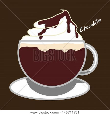 Hot chocolate drink with whipping cream and chocolate syrup illustration