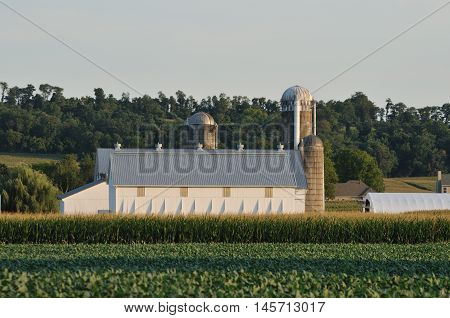 Lancaster county countryside landscape with farm and silo