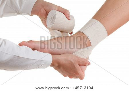 Flexible elastic supportive orthopedic bandage isolated on white background compression stabilizer ankle.