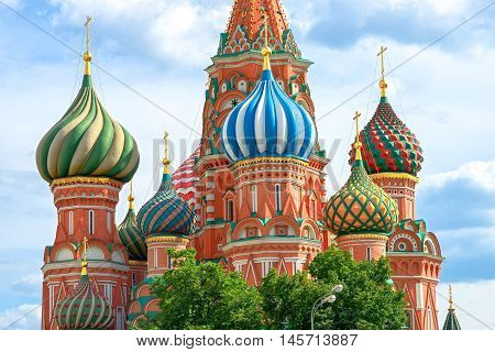 Cathedral of Vasily the Blessed on Red Square in Moscow Russia. It built in the sixteenth century in the ancient russian style