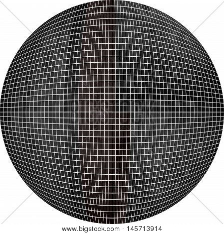 Black Ball in mosaic - Illustration,  Black Sphere vector,   Abstract Grunge black Mosaic in circle