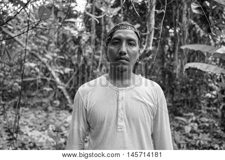 man suffering from depression and loneliness standing alone