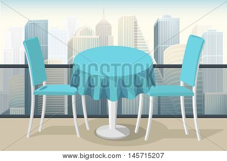 roof top restaurant lounge table with morning city view