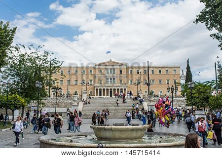 ATHENS GREECE - APRIL 25 2016:view of Syntagma square in Athens with crowd