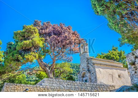 Small stone chapel in town  Bol, Island of Brac, Croatia.