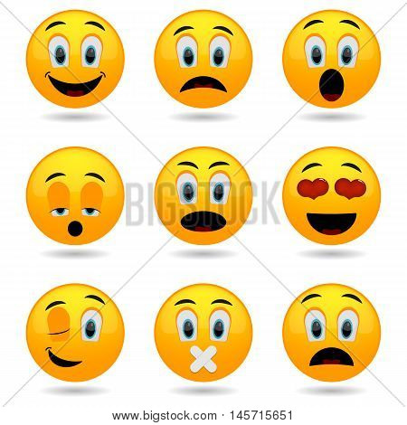 Set of Emoticons. Smile icons. Emotional funny in glossy 3D. Isolated on white background.