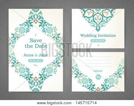 Vintage Wedding Cards In Eastern Style.