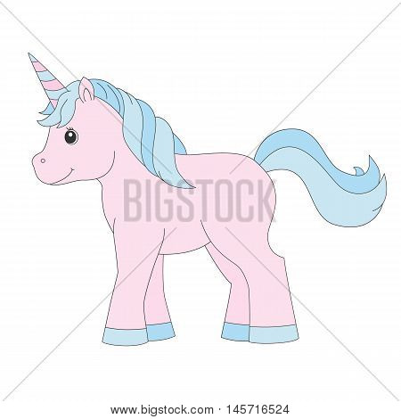 Unicorn.Baby toy. Design element for baby shower card, scrapbooking, invitation, children goods and childish accessories. Isolated on white background. Vector illusrtation.