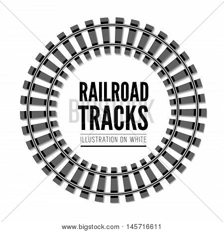 Railroad tracks vector illustration isolated on white background