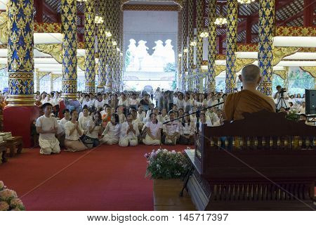 People Listen To Monk Preachment In Buddhism Church Temple