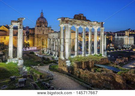 Famous Ruins of Forum Romanum on Capitolium hill in Rome Italy