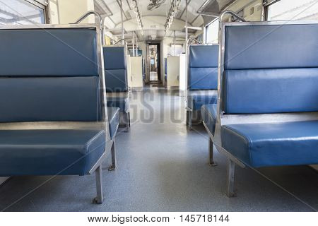 blue leather passenger chair seat in train