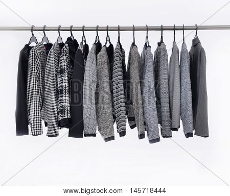 Set of female clothes of different coat hangers