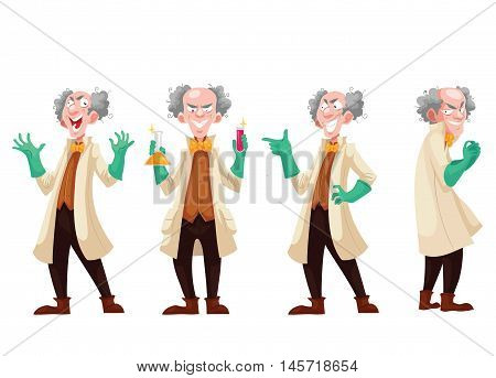 Mad professor in lab coat and green rubber gloves, cartoon style vector illustration isolated on white background. Funny laughing white-haired scientist in four different postures
