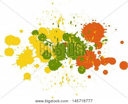 Background with blots and splashes of paint. Vector blots and vector  splashes.Yellow, green and orange blobs
