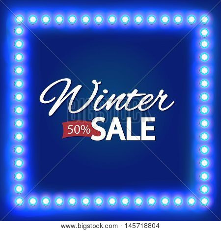 Seasonal sale. Winter discounts background. A sign with bright lights. Christmas sale. Winter sale. New year sale. illustration Design Template. For your Advertising, Presentations and Web