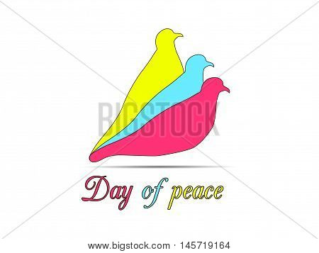 Colored Doves On A White Background. Doves Logo. International Day Of Peace. Vector Illustrations.