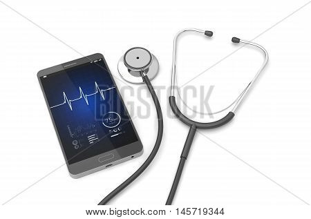 Stethoscope with smartphone on the white background. 3D illustration