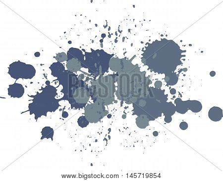 Background with blots and splashes of paint. Vector blots and vector  splashes. Dark blue blobs