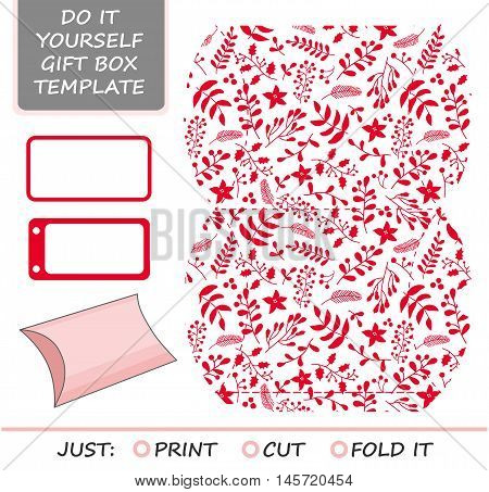 Christmas vector gift packaging template. Favor gift box die cut. Box template. Red and white pattern with holly mistletoe and poinsettia.