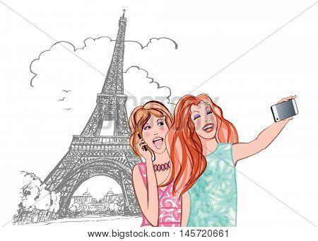 Women tourists at Eiffel Tower in Paris making travel selfie - vector illustration