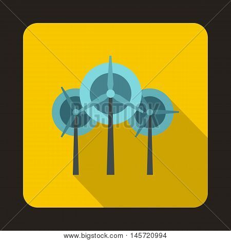 Wind generator turbines icon in flat style on a yellow background vector illustration