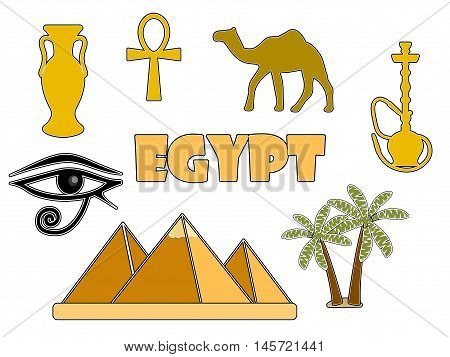 Egyptian symbols isolated on white background. Egyptian badges. Vector illustration.