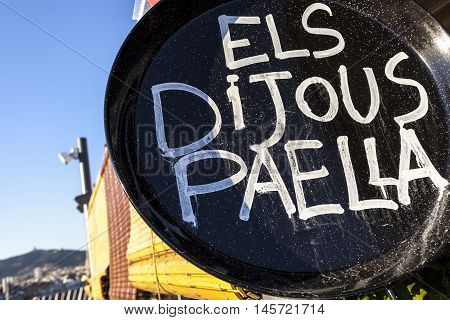 Paella sign in a restaurant in Barcelona Catalonia Spain