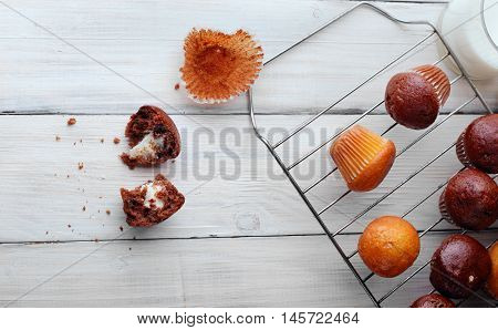 Biten Muffins Chocolate And Simple Mini Muffins On Grille With .free Sapce.top View
